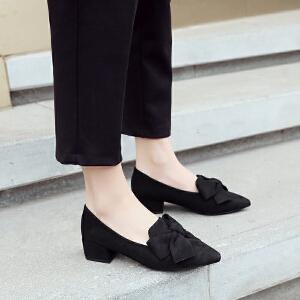 【掌柜推荐】ZHR韩版尖头粗跟女鞋浅口中跟时尚单鞋蝴蝶结休闲鞋