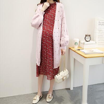 2019新款开衫外套两件套韩版毛衣连衣裙怀孕期孕妇春装套装时尚款 全店支持7天无理由