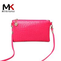 莫尔克(MERKEL)16新款女包迷你手机包单肩鳄鱼纹零钱包斜跨小包包韩版时尚