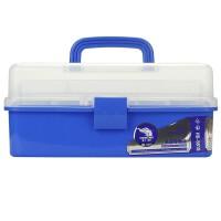 小学生书法工具箱 多功能三层折叠美术工具箱大容量国画书法用品画箱小学生玩具加厚 蓝色