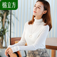 小清新堆堆领打底毛衣女秋季2018新款棉立方白甜美修身慵懒针织衫