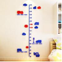 卡通汽车量身高贴宝宝身高尺儿童房玄关3d水晶立体墙贴创意装饰画