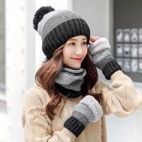 拼色帽子女冬天毛线帽冬季保暖针织帽围脖一体潮