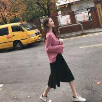 欧洲站2018早秋装女装新款chic初恋毛衣裙子针织显瘦两件套连衣裙 粉色毛衣+黑色半身裙 M
