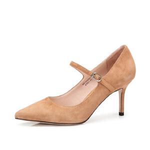 Camel/骆驼女鞋 2018春季新品 时尚简约尖头细跟单鞋女扣带高跟鞋