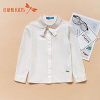 【1件2折后:39.6元】红蜻蜓童装新款纯色简约可爱蝴蝶结装饰女童儿童长袖衬衫