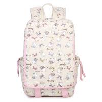2018新款书包女韩版学生4-6年级帆布双肩包初中生背包可爱卡通休闲旅行包 米白色 猫咪印花