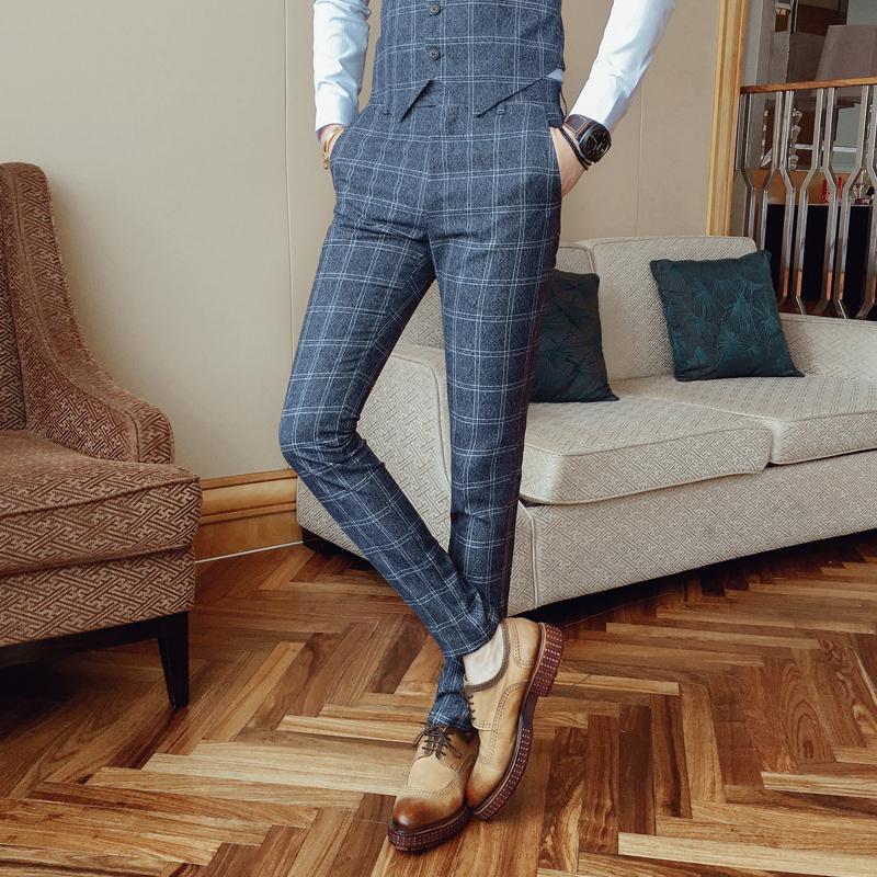 秋季新款男士潮流时尚格子小脚西裤韩版修身青年免烫休闲长裤子 一般在付款后3-90天左右发货,具体发货时间请以与客服协商的时间为准