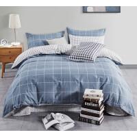 四件套全棉纯棉简约格子床单北欧风秋冬床上用品 四件套 适用1.8-2m床 建议搭配220*24