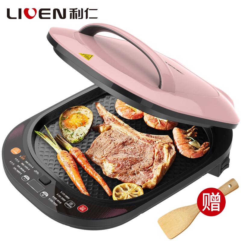 利仁(Liven)LR-D3400 电饼铛 电脑版下盘可拆卸洗 食品级不粘涂层 大烤盘 八大菜单功能  上下烤盘独立控温