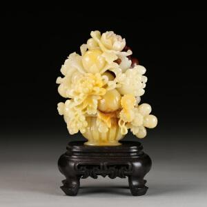 寿山老性芙蓉石  精雕花开富贵摆件 p3865