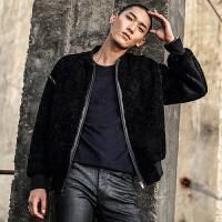 2017新款进口整皮澳洲颗粒羊毛皮草外套男短款时尚宽松夹克棒球服 黑色