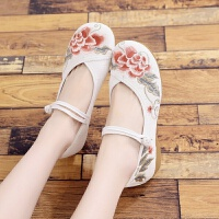 老北京女鞋春夏秋古风汉服鞋子低跟单鞋软底绣花鞋色古装布鞋