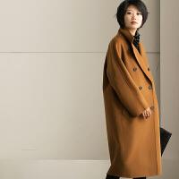 特●W7190AG 高端通勤焦糖双排扣廓形中长款纯羊毛大衣 米可可