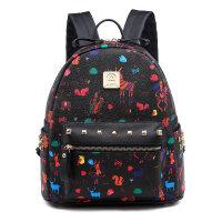 双肩包女pu韩版印花铆钉背包新款女包潮包包时尚大容量书包 8158大号