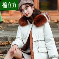 棉立方连帽撞色大毛领秋装女2018新款冬季天外套加厚短款棉衣