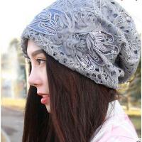 韩版时尚潮流堆堆包头帽 大码手工蝴蝶结头巾帽 孕妇光头蕾丝帽