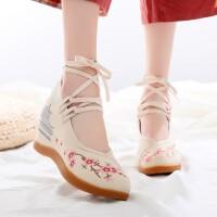 老北京布鞋女绣花鞋增高7cm系带中国风高跟古风旗袍汉服搭配鞋子