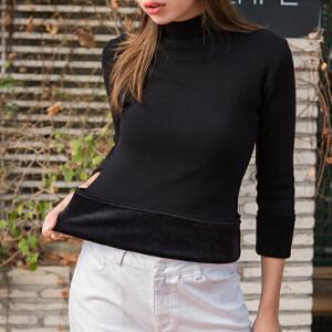 卡茗语加绒毛衣女冬季新款套头半高领修身针织衫长袖纯色加厚保暖打底衫