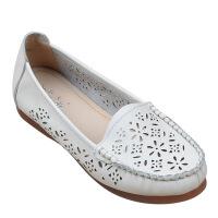 夏季镂空妈妈凉鞋平底洞洞女凉鞋平跟软底豆豆鞋中老年人女鞋