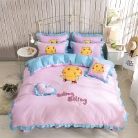 韩版卡通床上用品四件套棉纯棉公主风床单被套花边床裙款