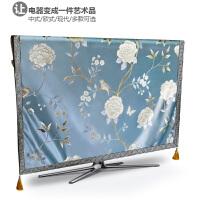 电视机罩防尘罩电视套液晶50寸55寸挂式电视盖布盖布艺壁挂电脑盖 浅蓝色 蓝茶花