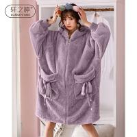 轩之婷 睡袍女珊瑚绒冬季宽松加大码孕妇保暖加厚睡裙浴袍法兰绒冬天睡衣