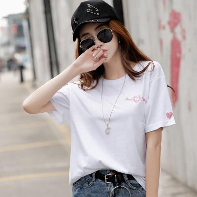 白色宽松t恤女短袖韩版bf风纯色圆领半截袖上衣刺绣体恤衫女夏装