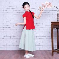 夏季短袖棉麻中国风小女孩儿童半身长裙套装民国风古筝表演出服装