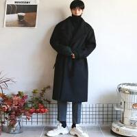 羊毛呢大衣男长款宽松过膝羊绒大衣落肩秋冬季韩版呢子外套风衣潮 (夹棉)