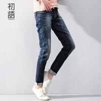 【1件8折/2件6折】 初语女式裤子 新款女装做旧直筒牛仔裤小脚裤女显瘦潮8611815024M