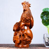 木雕十二生肖大公鸡摆件实木质客厅招财镇宅红木工艺品
