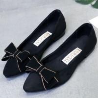 春秋新款女鞋蝴蝶结平跟浅口尖头单鞋女老北京布鞋平底鞋女工作鞋