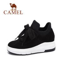 camel 骆驼女鞋 秋季新款 拼色松糕底休闲鞋女 显高百搭系带圆头鞋