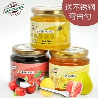 送弯曲勺 Socona蜂蜜桂圆茶+雪梨茶+柚子茶3瓶装韩国水果酱冲饮品
