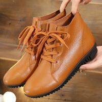 平底短靴春秋冬女鞋子新款软底百搭休闲鞋加绒棉鞋妈妈鞋
