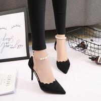 高跟鞋女尖头黑色性感一字扣细跟单鞋2018春秋季新款红色婚鞋女鞋