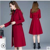 新款中长款高端呢子修身显瘦毛呢外套秋冬装红色羊绒大衣女