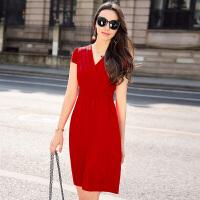 2017夏季新款女装重磅真丝连衣裙纯色性感优雅修身100桑蚕丝中裙