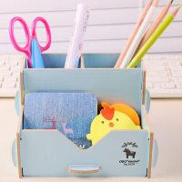 得力多功能笔筒创意简约韩国小清新学生文具收纳盒木质时尚可爱