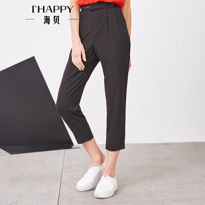 海贝夏季新款女装休闲裤 OL气质纯色腰带收腰九分裤小脚裤