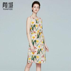 颜域品牌女装2017夏季新款圆领无袖桑蚕丝品牌连衣裙印花背心裙女