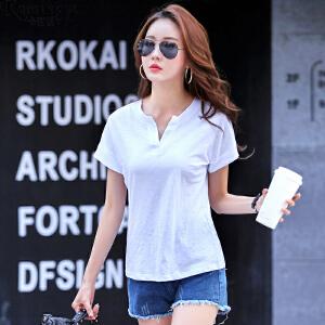 卡茗语2017夏季新品竹节棉短袖T恤女开领纯色简约时尚宽松体恤纯色上衣
