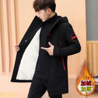 外套男冬季韩版潮流修身帅气男士中长款学生风衣青少年加绒夹克潮 9901红标 M