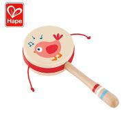 Hape新生宝宝悦动拨浪鼓0-1岁儿童摇铃玩具声音柔和安全木质手柄握感舒服婴幼玩具摇铃床铃安抚E8380