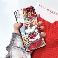 新年苹果xs max手机壳iPhone XR玻璃防摔壳7/8Plus全包国潮壳男女 XS MAX时尚潮猫