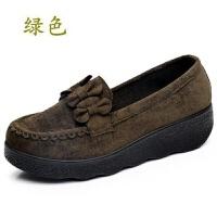 秋冬老北京鞋松糕厚底女鞋鞋浅口黑色工作鞋女单鞋 厚底D-23 绿色 35 标准码