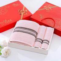 【人气】毛巾浴巾礼盒三件套/套装批发公司礼品结婚生日回礼绣字定制logo 140x70cm