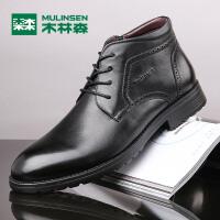 木林森男鞋新款商务休闲男士高帮皮鞋英伦保暖高帮皮鞋