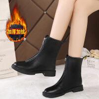 guid短靴女单靴英伦风中筒拉链马丁靴韩版学生女平底机车靴保暖鞋 黑色加绒-2 36